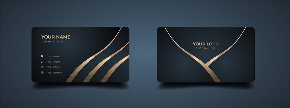 Luxury modern business card print template. Creative and clean executive business class. Elegant premium design with dark background and golden effect. Editable mockup with modern gold embossed.