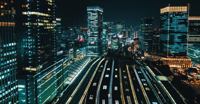 Aerial view of trains in Tokyo station, Tokyo, Japan