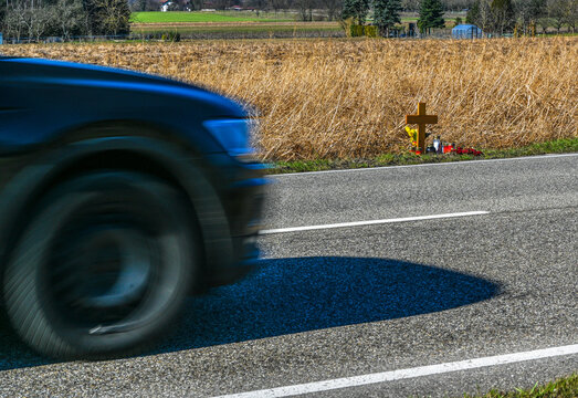 Memorial cross at the scene of the accident. Baden Wuerttemberg, Germany