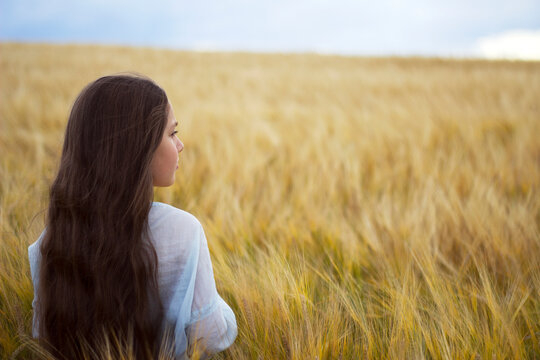 little girl with long dark hairs is staying in sunny summer rye field - warm landskape with fluffy grasses and blue sky