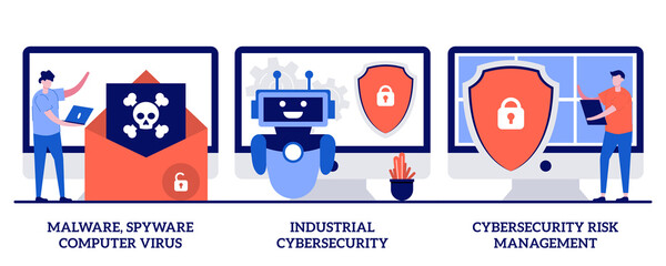 Malware, computer virus and spyware, industrial cybersecurity, cybersecurity risk management concept with tiny people. Antivirus software development abstract vector illustration set - fototapety na wymiar