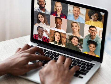 Video Conference. Man Having Online Web Chat With Diverse Multiethnic People, Collage