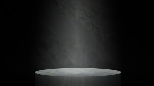 Light beam at the empty white Product stage on marble background with studio for showing or design blank backdrop made from marble material dark abstract wall.