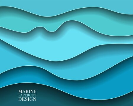Paper cut Abstract art background 3d layer blue color sea waves, ocean water,river,lake.Template marine texture with wavy lines pattern.Vector cover,flyer,textile print,banner, poster,card,wallpapers
