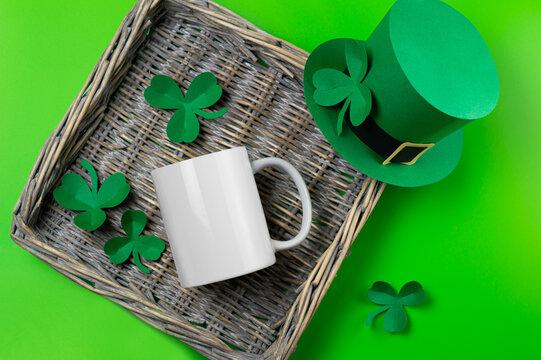 St. Patrick's Day empty white mug mockup