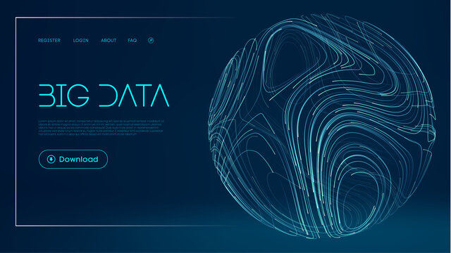 Network futuristic background. Global Big Data Cloud. Abstract digital technology background. Sphere lines vector illustration.