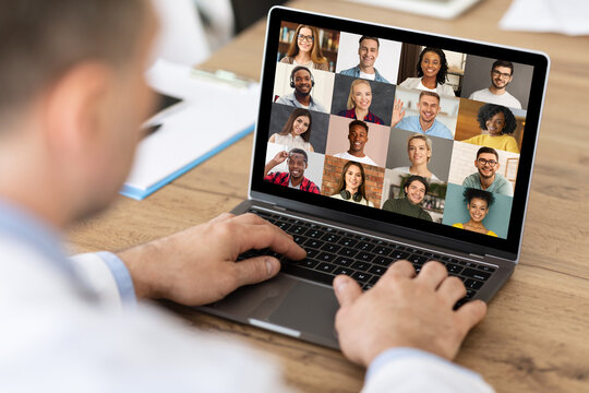 Unrecognizable Businessman Making Video Call On Laptop With Multiethnic Colleagues, Collage