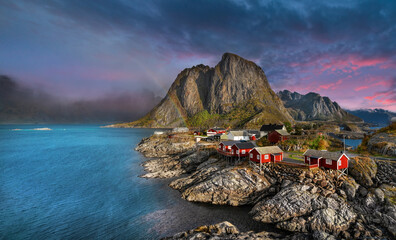 Beautiful morning at Hamnoy fishing village in Lofoten Island, Norway