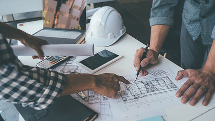 Architect Engineer Design Working on Blueprint Planning Concept. Construction Concept - fototapety na wymiar