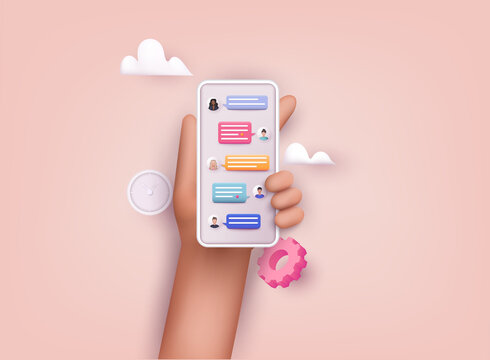 Hands holding phone with chat. Sms on mobile phone screen. Messaging using chat app or social network. 3D Web Vector Illustrations.