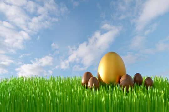 3D render of Easter greeting card with green grass, blue sky, golden and chocolate eggs.