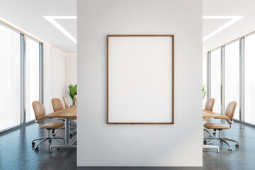 Fototapeta Mockup frame on a wall in office conference room with furniture and windows