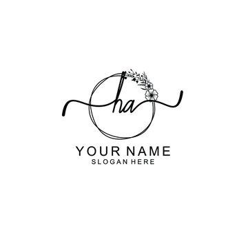 Letter HA Beautiful handwriting logo
