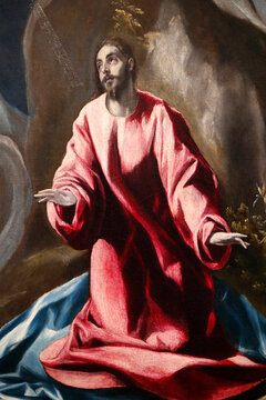 The Agony in the Garden of Gethsemane. Oil on caneva. Detail.   Painting by Domenikos Theotokopoulos called El Greco (1540-1614).  France.  22.03.2018