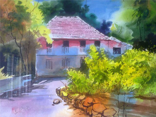 Watercolor house on the garden  beautiful scenery hand drawn illustration .