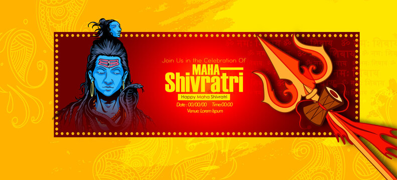 Greeting card for illustration of Lord Shiva, Indian God of Hindu for maha Shivratri, with hindi text har har mahadev meaning 'Everyone is Lord Shiva'. and 'om namah shivay'