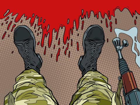 soldier machine gun feet shoes profession