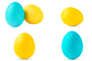 Colorful Easter eggs isolated on white background. Set of yellow and cyan easter eggs