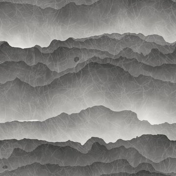Seamless gray mountains fading into fog. High quality illustration. Gorgeous abstract mountain range print for surface design. Seamless repeat raster jpg pattern swatch. Grey paper texture overlay.