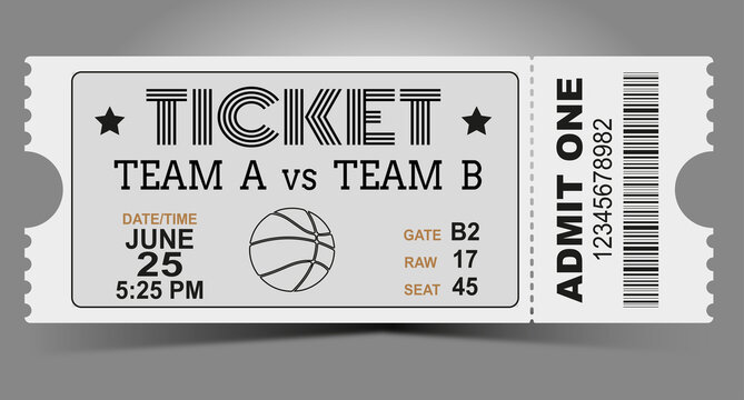 Basketball ticket design template. Card invitation, game team, event and date, location and place sector. vector illustration