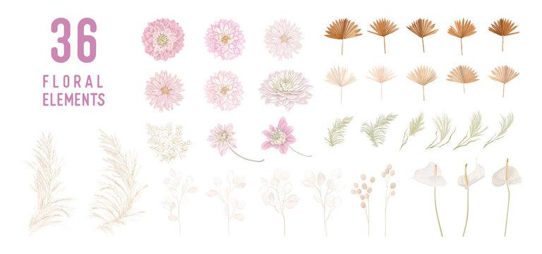 Dried lunaria flowers, dahlia, pampas grass, tropical palm leaves vector bouquets. Pastel watercolor floral