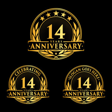 14 years anniversary collection logotype. Vector and illustration.