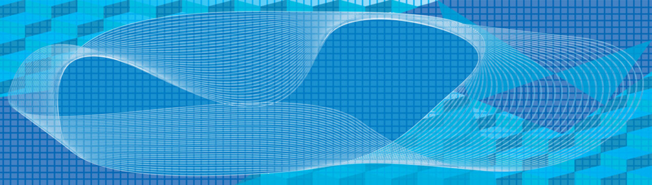 Horizontal banner. Abstract background. Noise structure with cubes