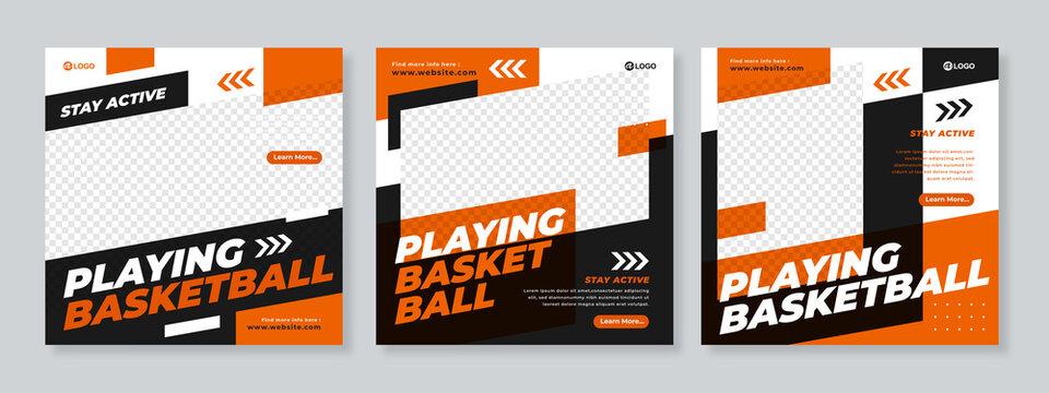 Sports social media post design template Premium Vector
