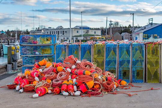 Lobster Fishing season preparations floats, buoys and traps