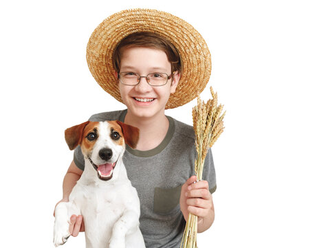 Boy embracing his dog friend. Isolated in white background.