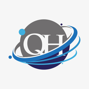 initial letter QH logotype company name colored blue and grey swoosh and globe design. isolated on white background.