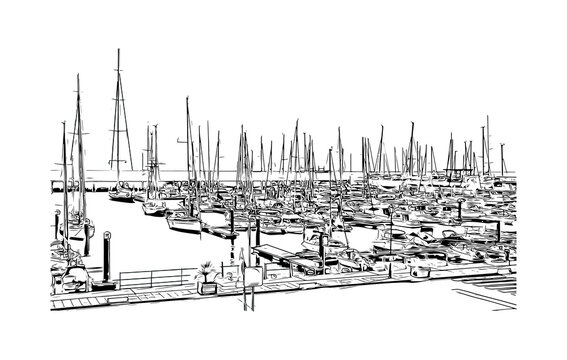 Building view with landmark of Cascais is a coastal resort town in Portugal. Hand drawn sketch illustration in vector.