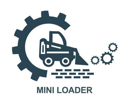 Vector icon of the mini tractor loader logo. Construction and special equipment, tractor.