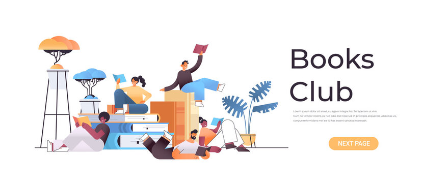 group of mix race people reading books together in modern book club horizontal full length vector illustration