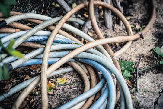 Close-up shot garden irrigation dirty blue pink hose bundle lie down on ground. Concept of gardening, pastime, water supply, communications