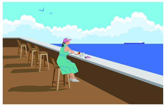 바닷가의 야외카페 풍경