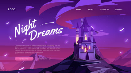 Night dreams banner. Fantasy event, party, festival or celebration. Vector landing page with cartoon landscape with fairy tale magic castle in mountains at night