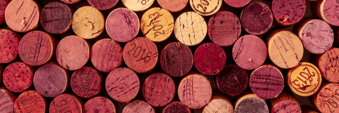Wine corks panorama, top shot