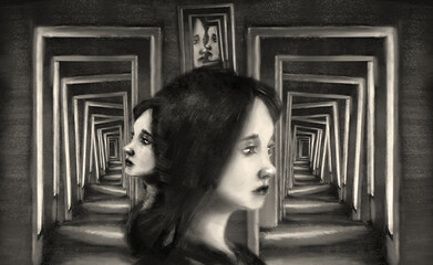 portrait of a girl in profile against the background of hidden corridors
