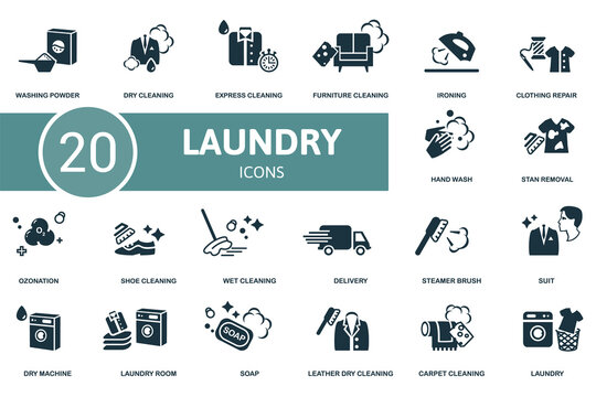 Laundry icon set. Contains editable icons laundry theme such as dry cleaning, furniture cleaning, clothing repair and more.
