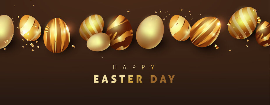 Easter background template with luxury premium golden eggs.