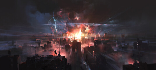 Obraz The moment the city was hit by a nuclear bomb, digital painting. - fototapety do salonu