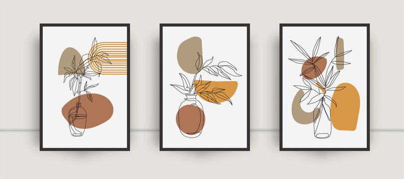 Botanical wall art abstract vector. Foliage line drawing. Neutral boho art print set. Minimal mid century wall art print for bedroom decor. Gallery decor poster, terracota colors for bohemian interior