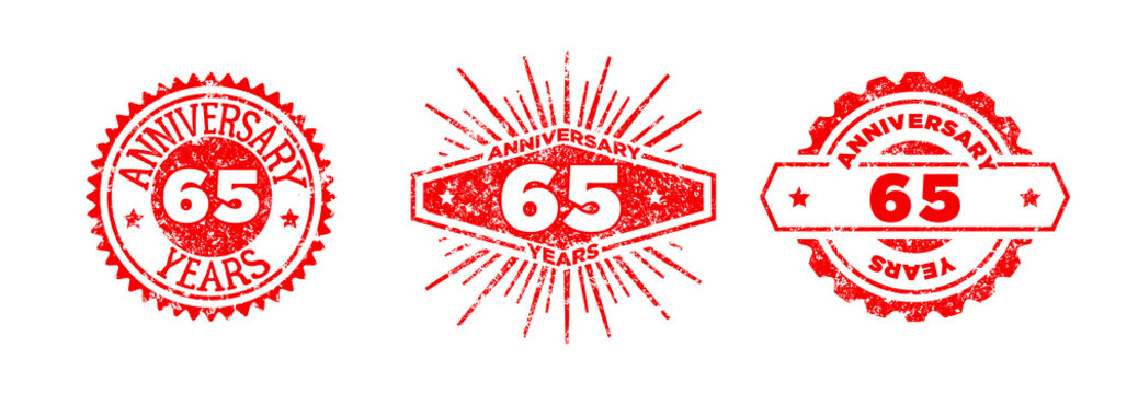 A group of 65 years anniversary logos drawn in the form of stamps, red frames for celebration. Grunge rubber stamp texture. Distressed texture stamp. Collection of postage stamps. Vector round stamps