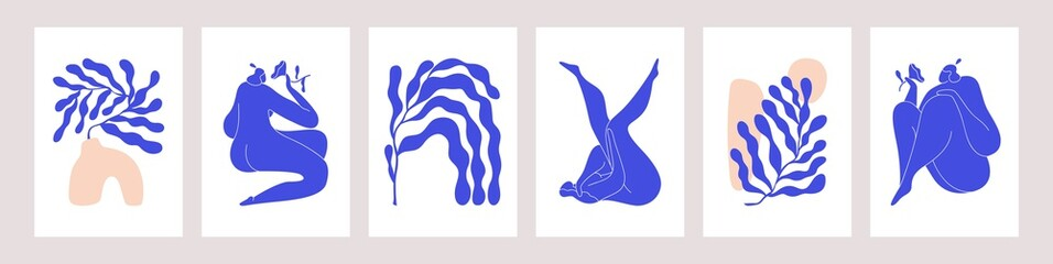 Matisse-inspired modern posters with abstract woman and branches on white background. Set of contemporary wall art. Colored flat vector illustrations of vertical artworks with people and leaves Fototapete