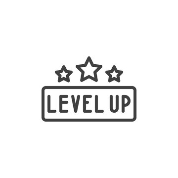 Level up stars line icon. linear style sign for mobile concept and web design. Game level up outline vector icon. Symbol, logo illustration. Vector graphics