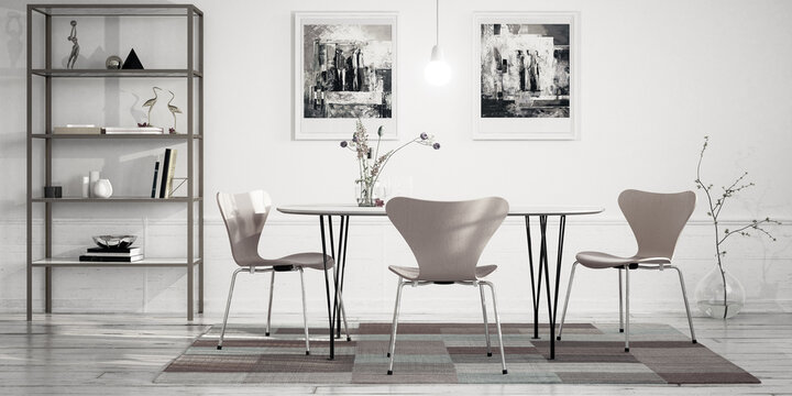 Cute Dinning Room Furniture Design - panoramic black and white 3D Visualization