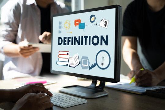 DEFINITION Business team hands at work
