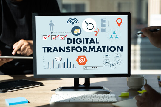Businessman using a digital device Digital Transformation concept digitization of business processes Digital Transformation Technology