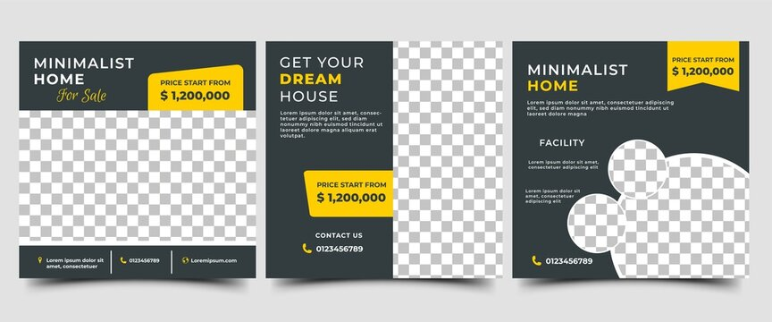 Social media post template design set for home sale. Vector design with photo collage. Usable for social media, flyers, and web internet ads.
